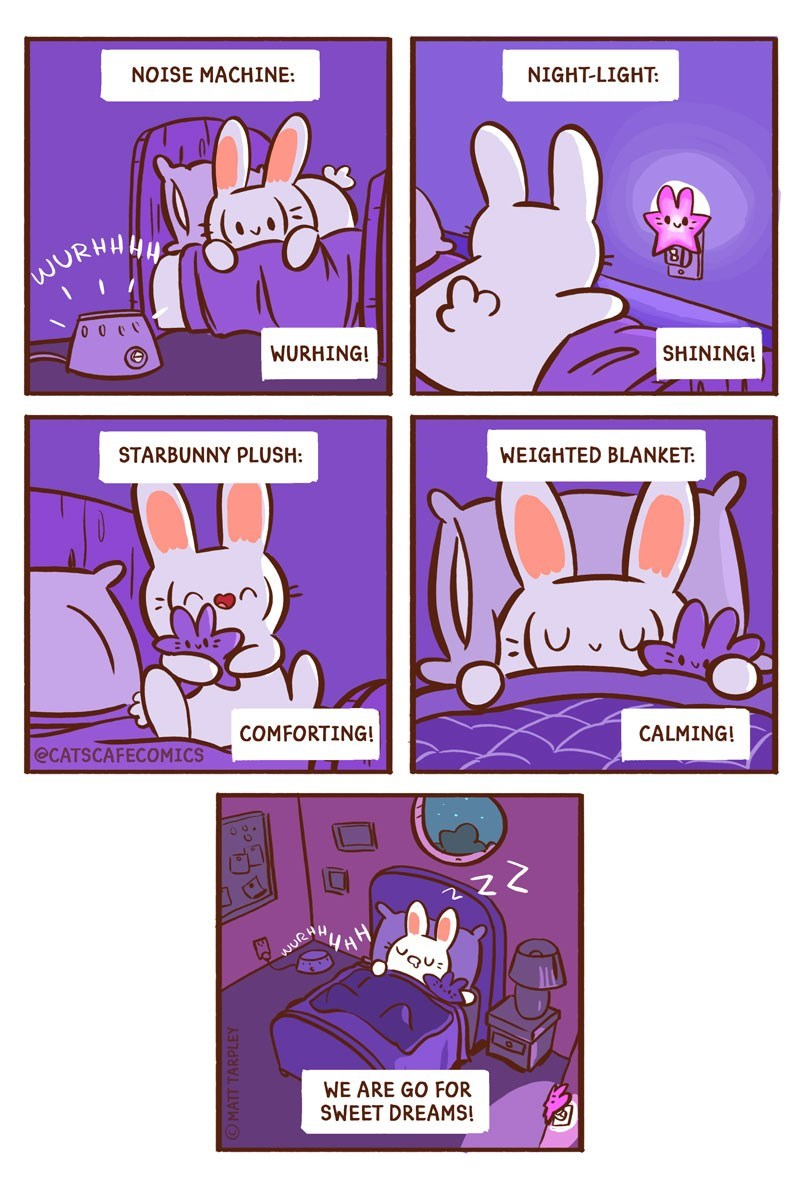 Text - NOISE MACHINE: NIGHT-LIGHT: NURHHH WURHING! SHINING! STARBUNNY PLUSH: WEIGHTED BLANKET: COMFORTING! @CATSCAFECOMICS CALMING! WURHH WE ARE GO FOR SWEET DREAMS! RiA