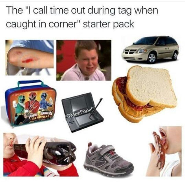"""Product - The """"I call time out during tag when caught in corner"""" starter pack FOVE KANGES SAIKAI @MasiPopal"""