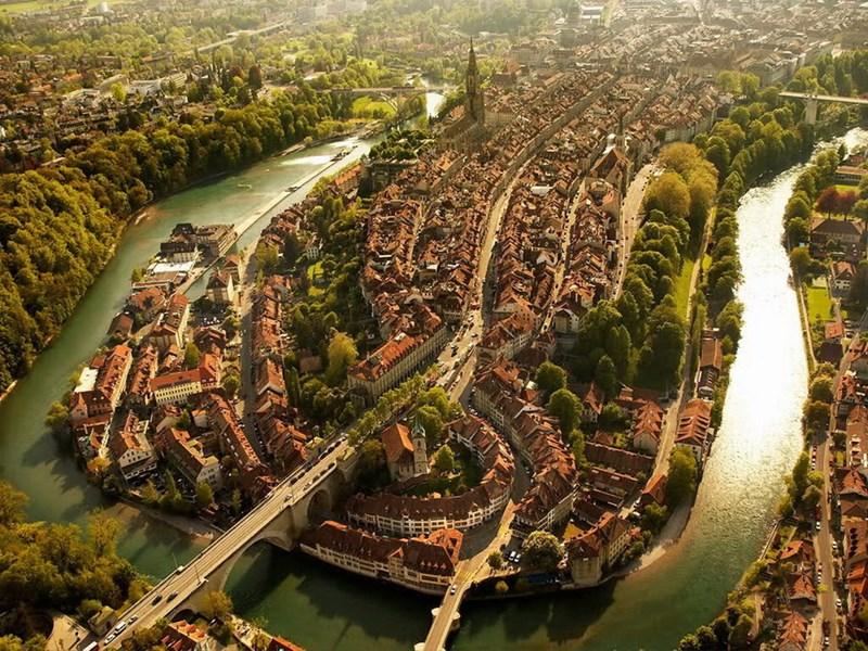fifteen photos of cities from above