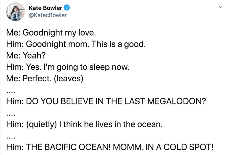 Text - Kate Bowler @KatecBowler Me: Goodnight my love. Him: Goodnight mom. This is a good. Me: Yeah? Him: Yes. I'm going to sleep now. Me: Perfect. (leaves) .... Him: DO YOU BELIEVE IN THE LAST MEGALODON? .... Him: (quietly) I think he lives in the ocean. .... Him: THE BACIFIC OCEAN! MOMM. IN A COLD SPOT!