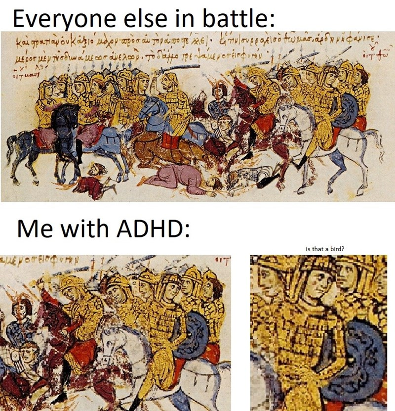 Text - Everyone else in battle: 0ITuart Me with ADHD: is that a bird?