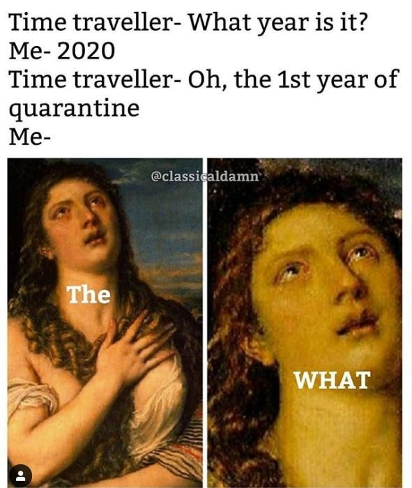 Face - Time traveller- What year is it? Me- 2020 Time traveller- Oh, the 1st year of quarantine Me- @classicaldamn The WHAT