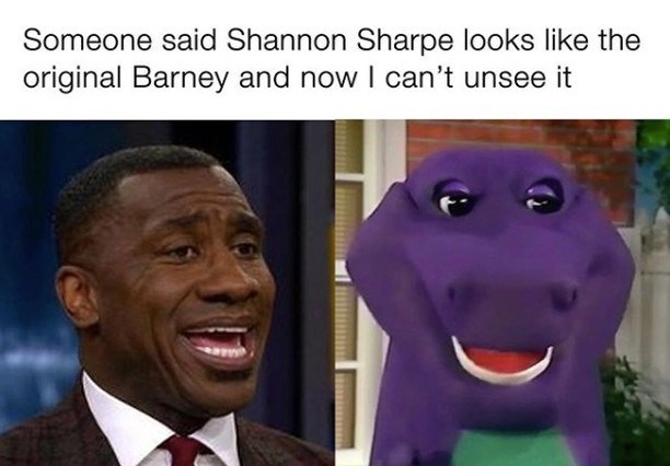 Facial expression - Someone said Shannon Sharpe looks like the original Barney and now I can't unsee it