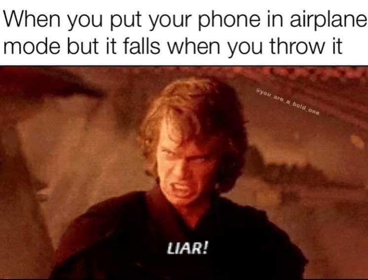 Text - When you put your phone in airplane mode but it falls when you throw it Syou are a bold one LIAR!