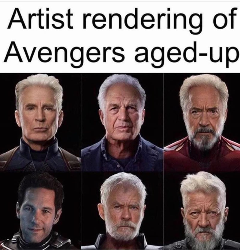 Facial expression - Artist rendering of Avengers aged-up S.