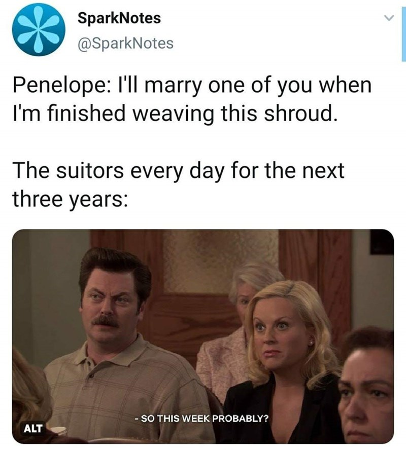 Text - SparkNotes @SparkNotes Penelope: I'll marry one of you when I'm finished weaving this shroud. The suitors every day for the next three years: SO THIS WEEK PROBABLY? ALT