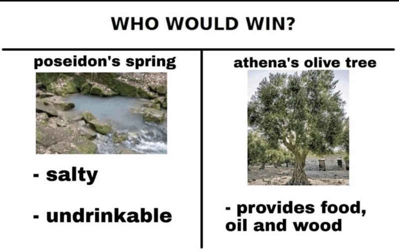 Vegetation - WHO WOULD WIN? poseidon's spring athena's olive tree - salty - provides food, oil and wood undrinkable