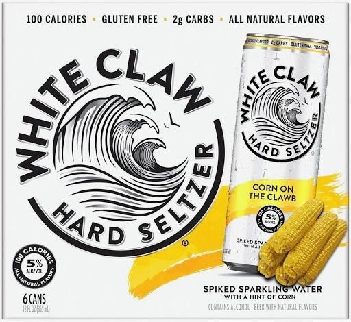 100 CALORIES · GLUTEN FREE - 2g CARBS - ALL NATURAL FLAVORS CLAW CLAW HARD CORN ON THE CLAWB HARD SPIKED SPAT WITH AN SPIKED SPARKLING WATER WITH A HINT OF CORN 5% ALC/VOL CONTAINS ALCOHOL BEER WITH NATURAL FLAVORS 6CANS WHITE ELTZER