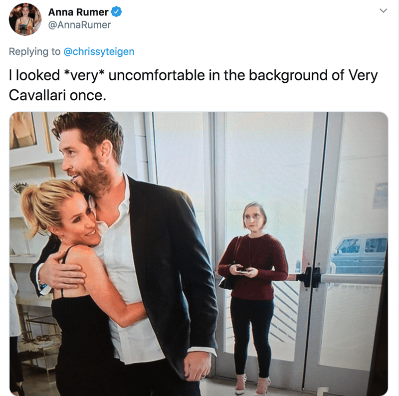 Facial expression - Anna Rumer @AnnaRumer Replying to @chrissyteigen I looked *very* uncomfortable in the background of Very Cavallari once.