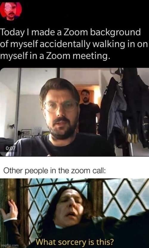 Funny Twitter meme about a guy who made a Zoom background of him walking in on himself in a meeting