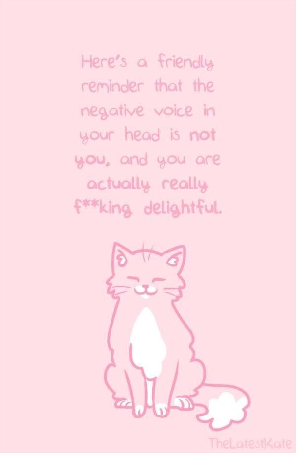 Text - Here's a friendly reminder that the negative voice in your head is not you, and you are actually really f**king delightful. TheLatestKate