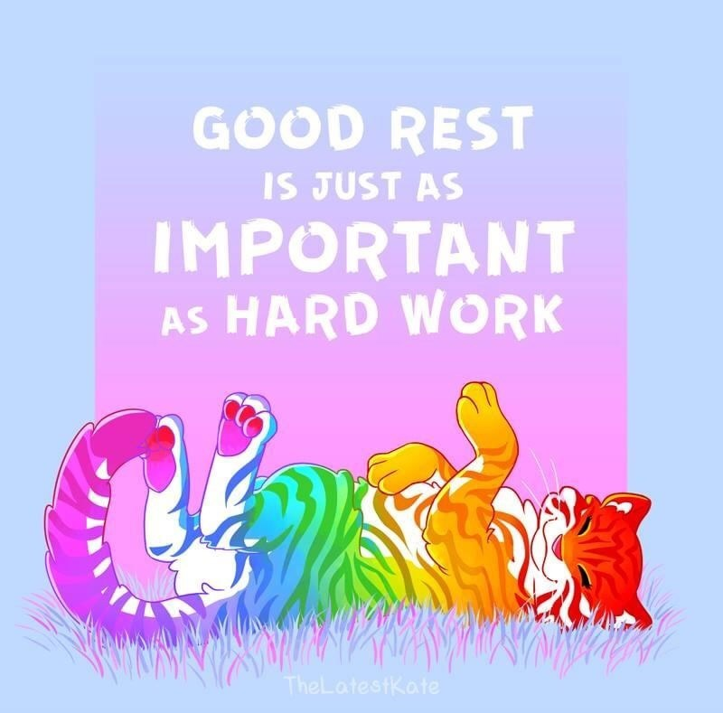 Text - Text - GOOD REST IS JUST AS IMPORTANT AS HARD WORK TheLatestkate