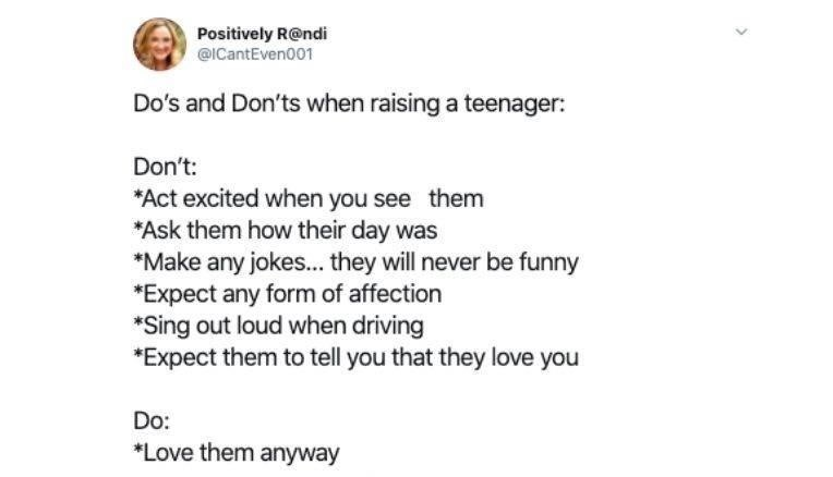 Text - Positively R@ndi @ICantEven001 Do's and Don'ts when raising a teenager: Don't: *Act excited when you see them *Ask them how their day was *Make any jokes.. they will never be funny *Expect any form of affection *Sing out loud when driving *Expect them to tell you that they love you Do: *Love them anyway