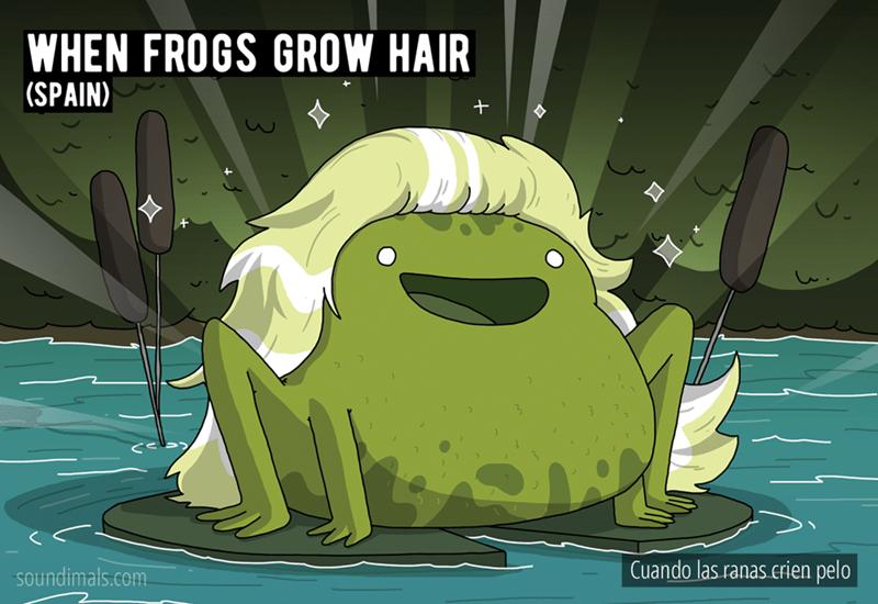 Cartoon - WHEN FROGS GROW HAIR (SPAIN) soundimals.com Cuando las ranas crien pelo