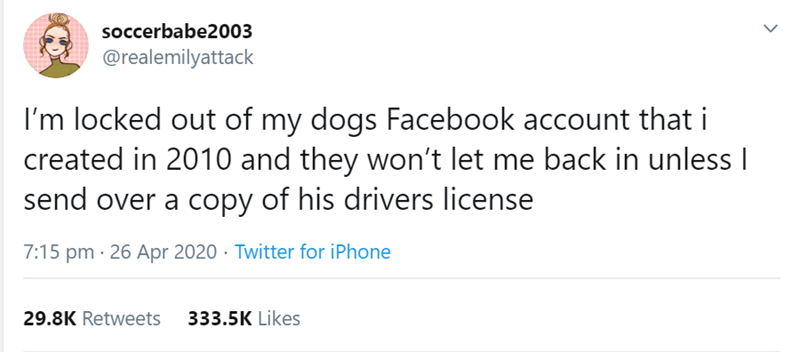 Text - soccerbabe2003 @realemilyattack I'm locked out of my dogs Facebook account that i created in 2010 and they won't let me back in unless I send over a copy of his drivers license 7:15 pm · 26 Apr 2020 · Twitter for iPhone 29.8K Retweets 333.5K Likes