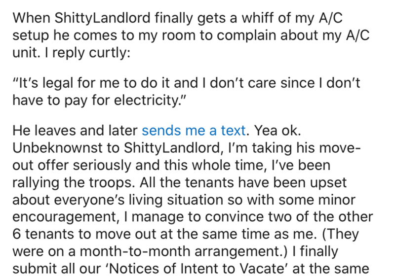 """Text - When ShittyLandlord finally gets a whiff of my A/C setup he comes to my room to complain about my A/C unit. I reply curtly: 