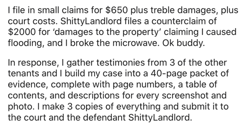 Text - I file in small claims for $650 plus treble damages, plus court costs. ShittyLandlord files a counterclaim of $2000 for 'damages to the property' claiming I caused flooding, and I broke the microwave. Ok buddy. In response, I gather testimonies from 3 of the other tenants and I build my case into a 40-page packet of evidence, complete with page numbers, a table of contents, and descriptions for every screenshot and photo. I make 3 copies of everything and submit it to the court and the de