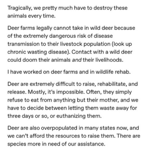 Text - Tragically, we pretty much have to destroy these animals every time. Deer farms legally cannot take in wild deer because of the extremely dangerous risk of disease transmission to their livestock population (look up chronic wasting disease). Contact with a wild deer could doom their animals and their livelihoods. Ihave worked on deer farms and in wildlife rehab. Deer are extremely difficult to raise, rehabilitate, and release. Mostly, it's impossible. Often, they simply refuse to eat from