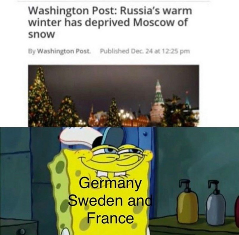 Product - Washington Post: Russia's warm winter has deprived Moscow of snow By Washington Post. Published Dec. 24 at 12:25 pm Germany Sweden ano France