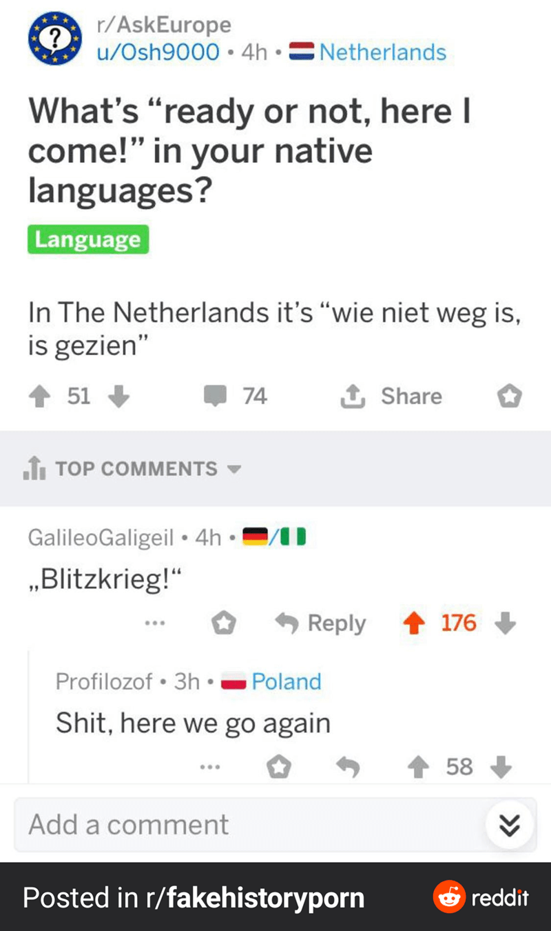 """Text - A r/AskEurope u/Osh9000 • 4h • CNetherlands What's """"ready or not, here I come!"""" in your native languages? Language In The Netherlands it's """"wie niet weg is, is gezien"""" 51 74 Share fi TOP COMMENTS GalileoGaligeil• 4h • """"Blitzkrieg!"""" Reply 176 Profilozof • 3h • Poland Shit, here we go again 58 Add a comment Posted in r/fakehistoryporn 6 reddit"""