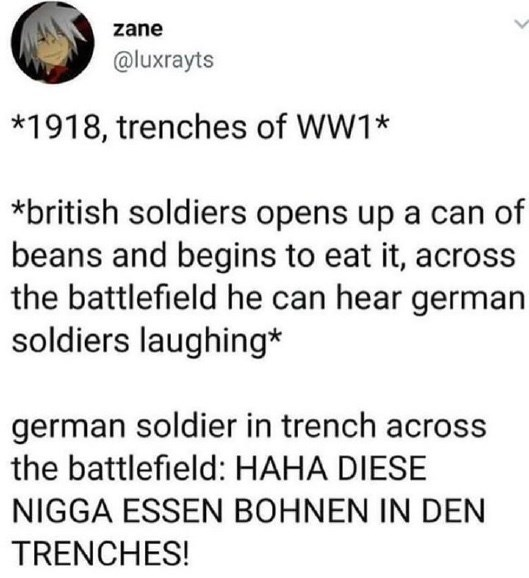 Text - zane @luxrayts *1918, trenches of WW1* *british soldiers opens up a can of beans and begins to eat it, across the battlefield he can hear german soldiers laughing* german soldier in trench across the battlefield: HAHA DIESE NIGGA ESSEN BOHNEN IN DEN TRENCHES!
