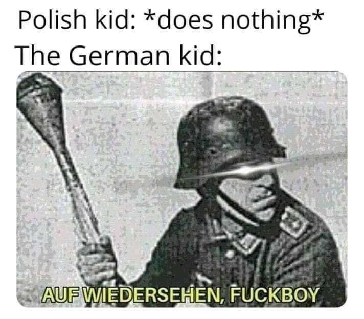 Polish kid: *does nothing* The German kid: AUF WIEDERSEHEN, FUCKBOY