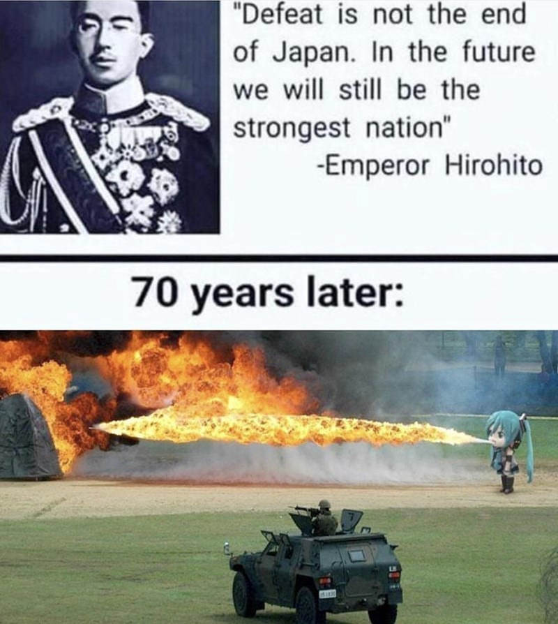 """Vehicle - """"Defeat is not the end of Japan. In the future we will still be the strongest nation"""" -Emperor Hirohito 70 years later: LS EAR"""