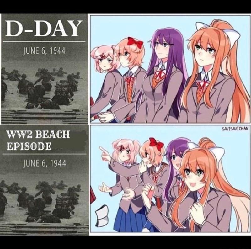 Cartoon - D-DAY JUNE 6, 1944 SAVISAVICHAN ww2 BEACH EPISODE JUNE 6, 1944