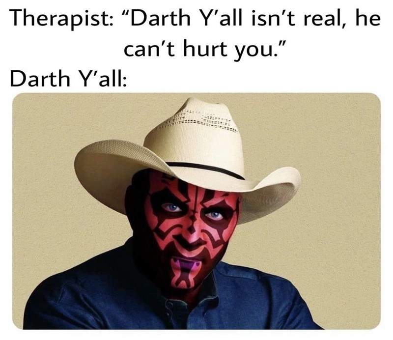 """Text - Therapist: """"Darth Y'all isn't real, he can't hurt you."""" Darth Y'all:"""
