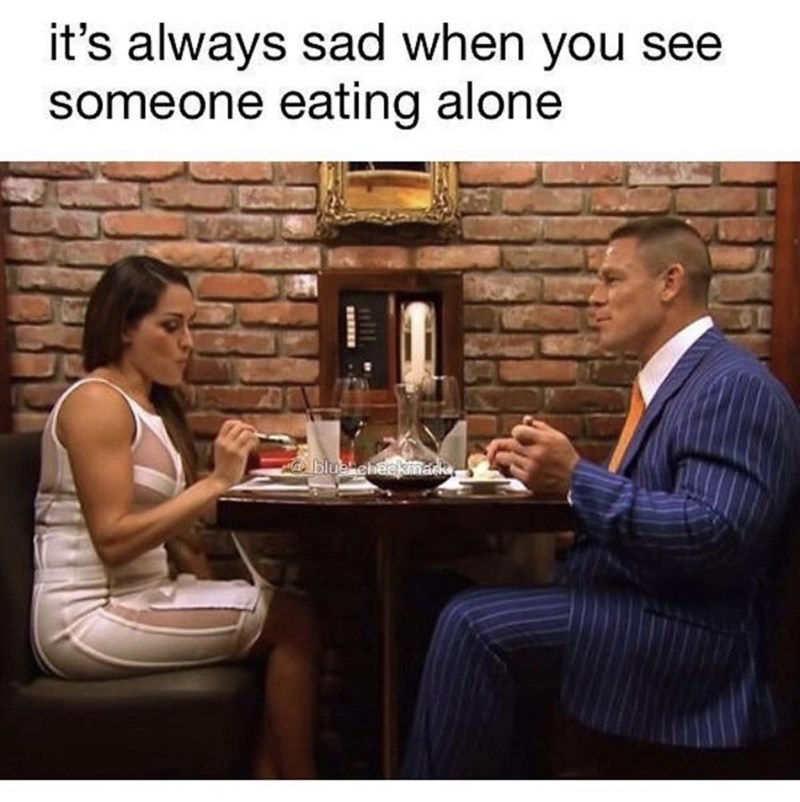 Conversation - it's always sad when you see someone eating alone blue eheekmank