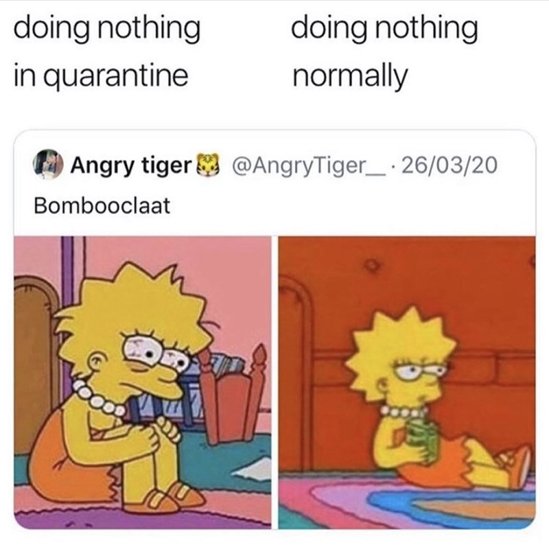 Cartoon - doing nothing doing nothing in quarantine normally Angry tiger @AngryTiger_· 26/03/20 Bombooclaat