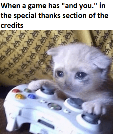 "Cat - When a game has ""and you."" in the special thanks section of the credits ই३ शर"