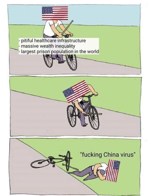 "Vehicle - -pitiful healthcare infrastructure - massive wealth inequality - largest prison population in the world ""fucking China virus"""