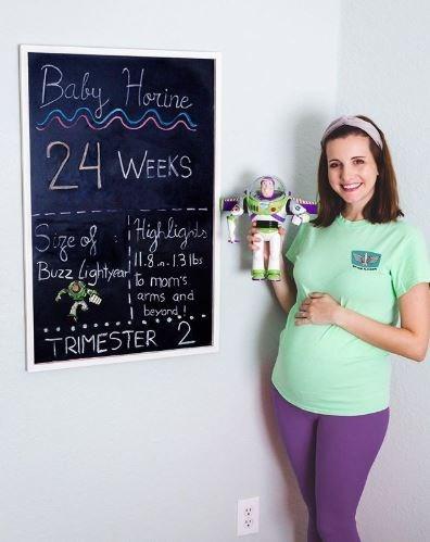 Blackboard - Baby, Horine 24 WEEKS ge of itiey igils Buzz lightyer I1.8m.13 lbs b mom's arms and i beyond! TRIMESTER 2
