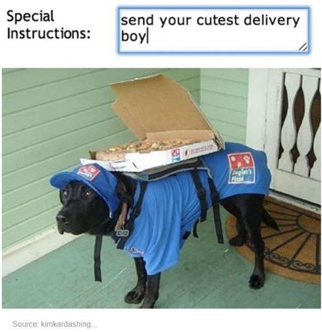 Special Instructions: send your cutest delivery boyl Capien's Pluse ల Source: kimkardashing...