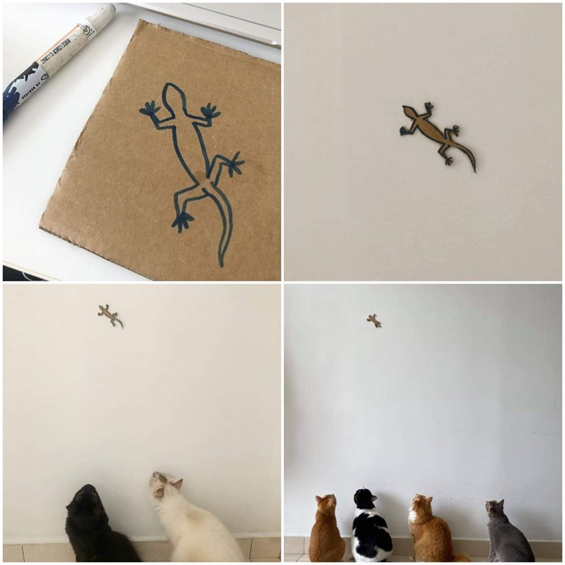 four panel showing a lizard shape being drawn then cut out from a cardboard then glued to a wall and four cats sitting in a row watching it as if it's real