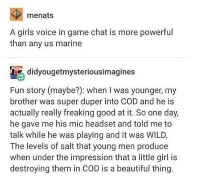 Text - menats A girls voice in game chat is more powerful than any us marine didyougetmysteriousimagines Fun story (maybe?): when I was younger, my brother was super duper into COD and he is actually really freaking good at it. So one day, he gave me his mic headset and told me to talk while he was playing and it was WILD. The levels of salt that young men produce when under the impression that a little girl is destroying them in COD is a beautiful thing.
