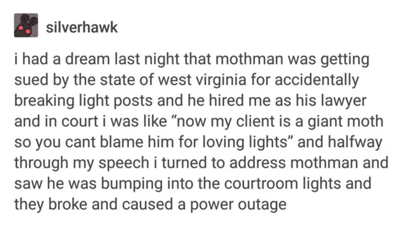 """Text - silverhawk i had a dream last night that mothman was getting sued by the state of west virginia for accidentally breaking light posts and he hired me as his lawyer and in court i was like """"now my client is a giant moth so you cant blame him for loving lights"""" and halfway through my speech i turned to address mothman and saw he was bumping into the courtroom lights and they broke and caused a power outage"""