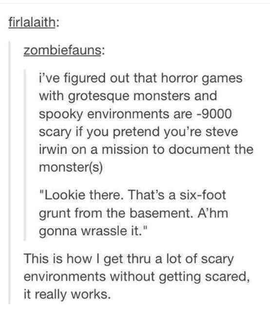 "Text - firlalaith: zombiefauns: i've figured out that horror games with grotesque monsters and spooky environments are -9000 scary if you pretend you're steve irwin on a mission to document the monster(s) ""Lookie there. That's a six-foot grunt from the basement. A'hm gonna wrassle it."" This is how I get thru a lot of scary environments without getting scared, it really works."