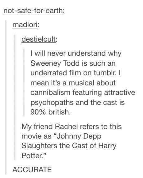 "Text - not-safe-for-earth: madlori: destielcult: I will never understand why Sweeney Todd is such an underrated film on tumblr. I mean it's a musical about cannibalism featuring attractive psychopaths and the cast is 90% british. My friend Rachel refers to this movie as ""Johnny Depp Slaughters the Cast of Harry Potter."" ACCURATE"