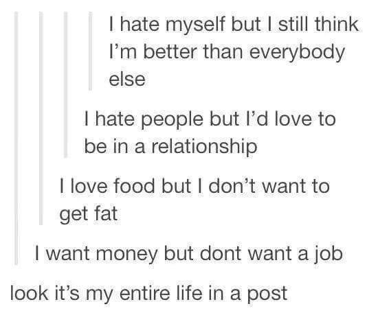 Text - I hate myself but I still think I'm better than everybody else I hate people but l'd love to be in a relationship I love food but I don't want to get fat I want money but dont want a job look it's my entire life in a post