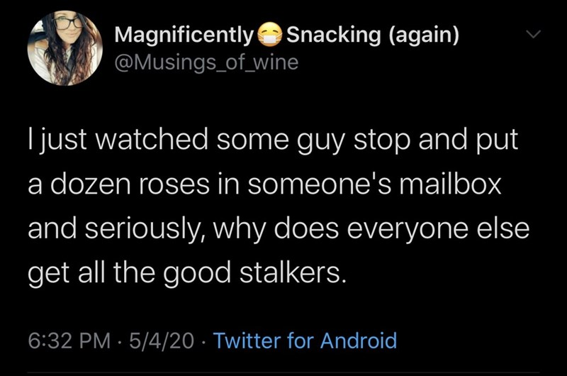 Text - Magnificently Snacking (again) @Musings_of_wine Ijust watched some guy stop and put a dozen roses in someone's mailbox and seriously, why does everyone else get all the good stalkers. 6:32 PM · 5/4/20 · Twitter for Android