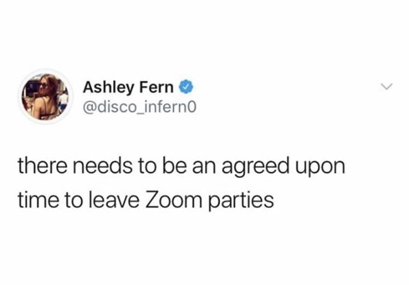 Text - Ashley Fern O @disco_infern there needs to be an agreed upon time to leave Zoom parties