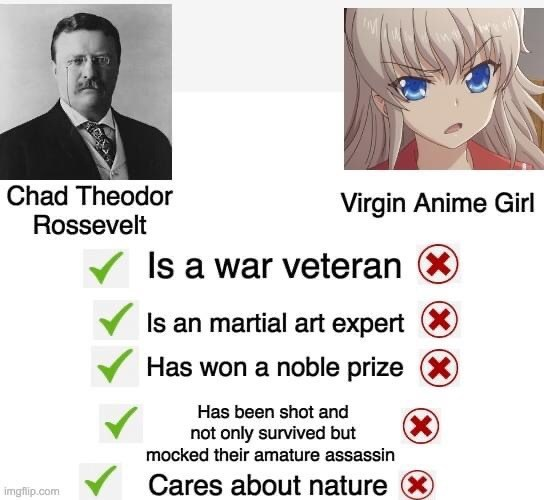 Cartoon - Chad Theodor Rossevelt Virgin Anime Girl Is a war veteran X Is an martial art expert X Has won a noble prize X Has been shot and (X) not only survived but mocked their amature assassin Cares about nature X imgflip.com