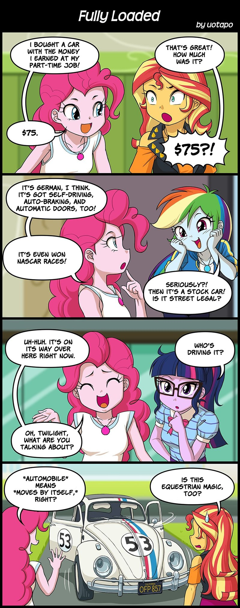 the love bug equestria girls scitwi twilight sparkle pinkie pie sunset shimmer rainbow dash - 9480805120