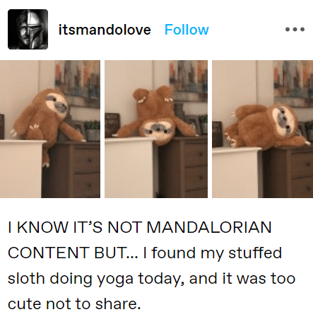 Text - itsmandolove Follow I KNOW IT'S NOT MANDALORIAN CONTENT BUT... I found my stuffed sloth doing yoga today, and it was too cute not to share.
