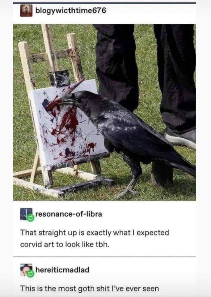 Bird - blogywicthtime676 resonance-of-libra That straight up is exactly what I expected corvid art to look like tbh. hereiticmadlad This is the most goth shit l've ever seen