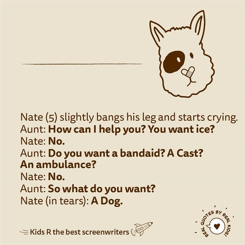 Text - Nate (5) slightly bangs his leg and starts crying. Aunt: How can I help you? You want ice? Nate: No. Aunt: Do you want a bandaid? A Cast? An ambulance? Nate: No. Aunt: So what do you want? Nate (in tears): A Dog. REAL EKids R the best screenwriters KIDS! QUOTES