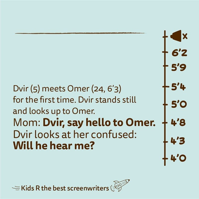 Text - 6'2 5'9 Dvir (5) meets Omer (24, 6'3) 5'4 for the first time. Dvir stands still 5'O and looks up to Omer. Mom: Dvir, say hello to Omer. + 4'8 Dvir looks at her confused: Will he hear me? +4'3 +4'0 E Kids R the best screenwriters