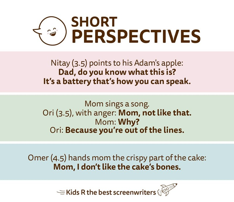 Text - SHORT PERSPECTIVES Nitay (3.5) points to his Adam's apple: Dad, do you know what this is? It's a battery that's how you can speak. Mom sings a song. Ori (3.5), with anger: Mom, not like that. Mom: Why? Ori: Because you're out of the lines. Omer (4.5) hands mom the crispy part of the cake: Mom, I don't like the cake's bones. =Kids R the best screenwriters 00